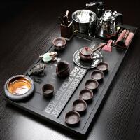 紫砂乌金石茶盘茶具套装家用简约整块茶台四合一全自动电磁炉石材 海纳百川 套餐1 24件