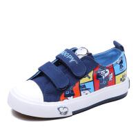 史努比童鞋男童帆布鞋魔术贴低帮板鞋时尚印花布鞋潮