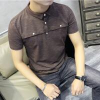 短袖polo衫男士修身翻领T恤青年雪花料帅气保罗体恤