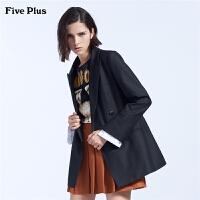 Five Plus女装中长款羊毛呢外套女双排扣西装bf宽松长袖翻领