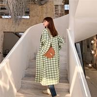 七格格毛呢外套女2019新款冬季西装领韩版宽松格子中长款呢子大衣