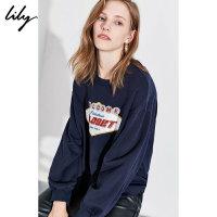 【不打烊价:159元】 Lily2019冬新款女装时髦撞色字母刺绣圆领宽松长袖卫衣8975