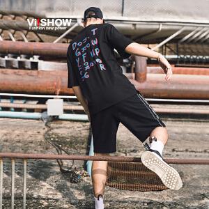 VIISHOW2018新款短袖T恤男 潮流黑色街头夏季体恤男士青年半袖