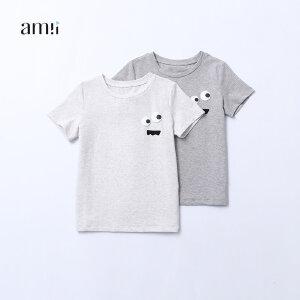 【尾品汇 5折直降】amii童装2017夏季新款中大童男童圆领t恤趣味图案休闲上衣薄T恤#
