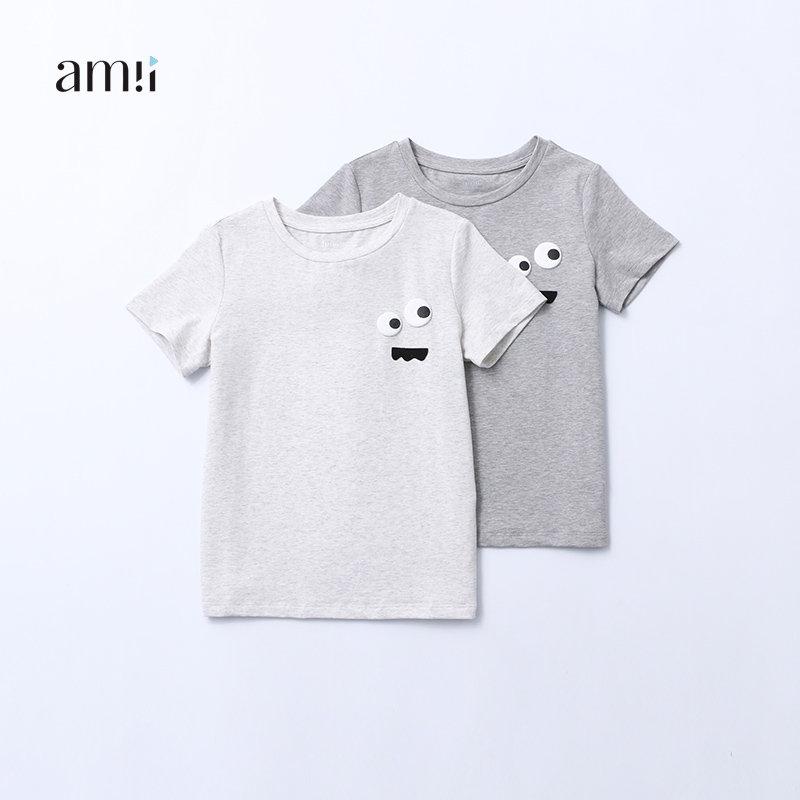 AMII童装2017夏季新款中大童男童圆领t恤趣味图案休闲上衣薄T恤#.