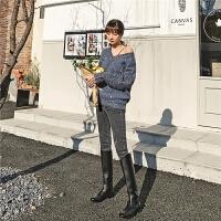 七格格高腰牛仔裤女2019新款冬季显瘦紧身小脚裤破洞修身九分裤子
