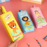 小学生笔袋女ins大容量帆布拉链文具盒铅笔收纳袋儿童男孩子女生款可爱卡通创意韩版初中生手提笔袋幼儿园用