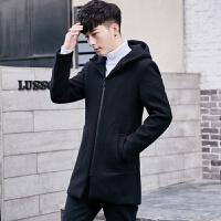 秋冬季男装中长款毛呢大衣韩版披风呢子外套帅气男士修身连帽风衣