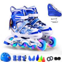 新款全闪溜冰鞋儿童全套装直排轮滑创新针缝旱冰鞋全闪光轮滑鞋滑冰鞋可调