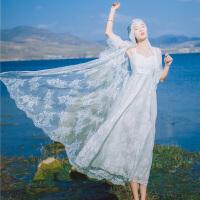 仙气质巴厘岛普吉岛沙滩裙白长裙旅拍轻婚纱海边拍照连衣裙两件套 白色