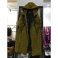 L3冬季新款时尚韩版宽松大码连帽羽绒服女中长款加厚显瘦外套1.05