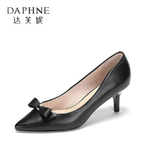 【达芙妮集团】 舒适羊皮高跟鞋优雅尖头蝴蝶结单鞋