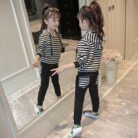 女童春装套装时尚儿童春秋条纹卫衣两件套女孩运动服