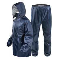 雨衣雨裤套装 双层加厚 户外骑行钓鱼雨衣 加厚雨披 深藏青 L