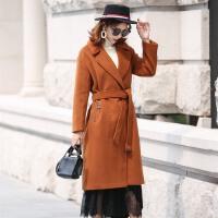 毛呢大衣女中长款过膝宽松休闲韩国女装2017秋冬系带呢子外套