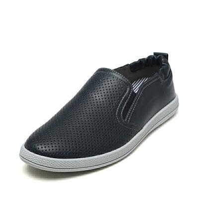 达芙妮旗下SHOEBOX/鞋柜舒适休闲鞋系带男鞋透气孔松紧带乐福鞋