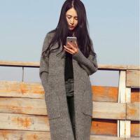 韩观2018新款韩版秋冬女装开衫毛衣中长款针织衫宽松毛呢加厚外套女士 灰色 口袋 S 适合85―100斤