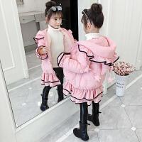 女童洋气棉袄冬装外套中大童网红中长款棉衣