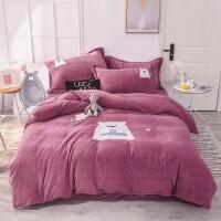 幻醒家纺双面牛奶绒金貂绒珊瑚绒加厚保暖床单被套床上用品四件套 玉色 1.5/1.8/2米床通用