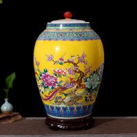 陶瓷带盖米缸米桶储米箱米罐15kg20斤30斤56斤密封酒坛油水缸 56斤装 送底座 密封圈