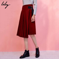 Lily2017冬新款女装不对称百褶半裙绑带修身半身裙117410F6505