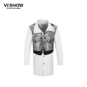 VIISHOW秋冬新款风衣 欧美潮流印花图案风衣外套男 中长大衣 F122654