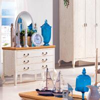 尚满 地中海系列梳妆台 卧室家具 实木框架梳妆台 水曲柳木梳妆台白色带镜子 仿古白梳妆镜