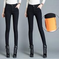 加长款外穿高腰打底裤女加绒裤子女冬新款加厚小黑裤保暖显瘦小脚