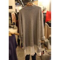 韩版女装秋冬新款中长款蕾丝针织拼接毛衣针织连衣裙女 灰色
