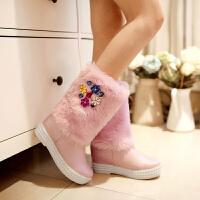 彼艾2016冬季超甜美内增高雪地靴女套筒中筒靴水钻保暖女靴子防滑防水女雪地靴子