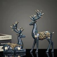 鹿酒柜装饰品摆件现代小创意欧式家居客厅电视柜摆设结婚礼物 青铜蓝色鹿【一对】