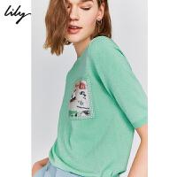【新品直降到手价:259元】 Lily2020春新款女装印花薄款内搭短款圆领套头打底毛衫针织衫8938