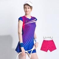 夏季羽毛球服套装女网球运动连衣裙显瘦修身透气