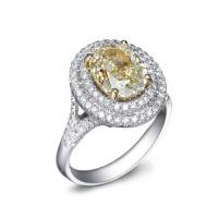先恩尼钻石 白18K金2.00克拉婚戒 豪华群镶钻戒 爱无止境钻石戒指