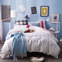 家纺简约纯棉床上用品四件套全棉布三件套1.5米1.8m床笠床单双人被套