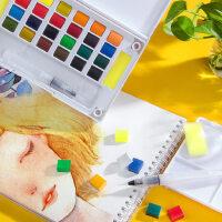 柏伦斯24色固体水彩颜料套装初学者手绘12色18色36色透明水彩画颜料分装组合水粉颜料固体画笔本套装便携