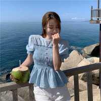 洋气衬衫女设计感小众泡泡袖上衣2021夏季新款韩版显瘦短袖衬衣潮