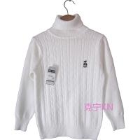 秋冬男女童毛衣高领两翻领针织衫圆领纯棉儿童表演白色毛衣打底衫