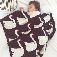 实拍 ins新款儿童毯 伦敦士兵黑白天鹅 婴儿推车盖毯空调毯 天鹅