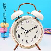 创意简约数字金属静音打铃闹钟 儿童学生欧式床头夜灯单面小时钟