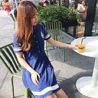 女装定制款2018夏装新款显瘦修身减龄学院风连衣裙到货