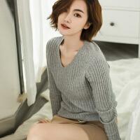 秋冬季新款鸡心V领抽条羊绒衫女短款套头修身纯色毛衣打底针织衫