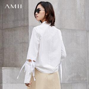 Amii极简复古港味镂空绑带心机衬衫女2018秋新设计感长袖翻领上衣