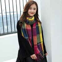 韩观仿羊绒格子围巾女冬季长女士韩版秋毛线针织装饰围巾学生厚披肩