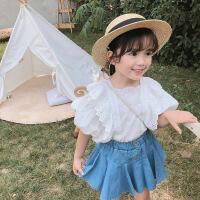 女童套装宝宝蕾丝上衣加牛仔短裙两件套