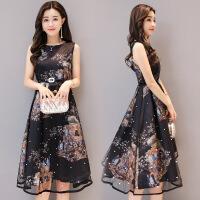 新款连衣裙女夏中长款印花韩版显瘦无袖a字蓬蓬裙 黑色