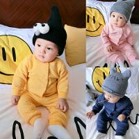 婴儿秋装0女童洋气套装1岁3个月6男宝宝加厚保暖睡衣新生儿套