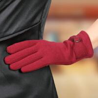 新款时尚女士手套加绒保暖触屏开车女式户外骑行手套潮流 可礼品卡支付