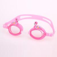 儿童可爱卡通泳镜泳帽套装男女童宝宝防水防雾高清游泳眼镜潜水镜 粉红色 天鹅
