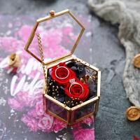 戒指盒交换结婚礼盒仪式森系永生花创意钻单对戒盒枕玻璃托盘首饰